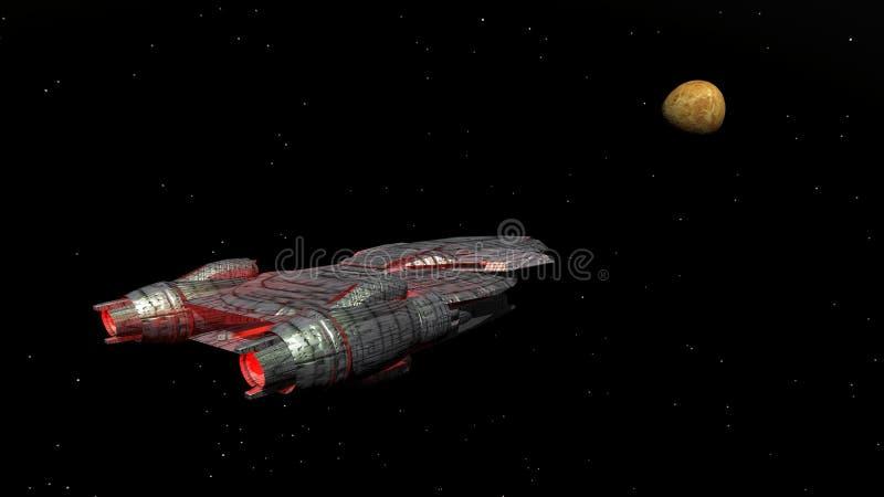 Croiseur cuirassé et planète Vénus illustration de vecteur