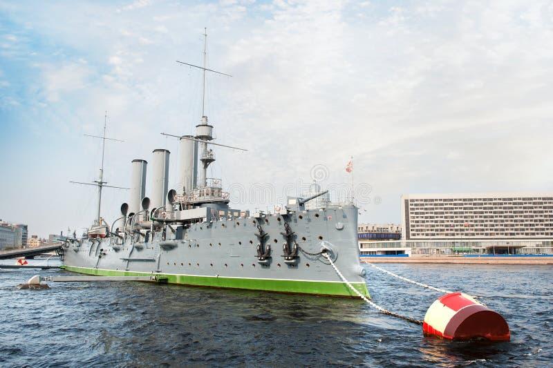 Croiseur de l'aurore, St Petersburg, Russie photographie stock