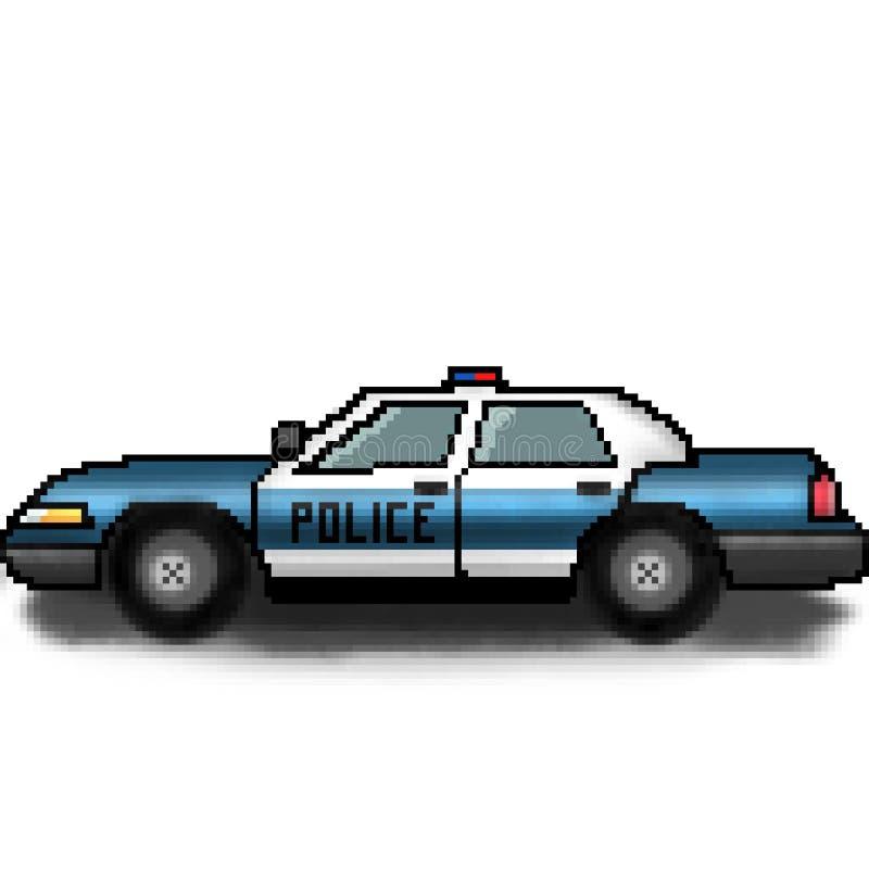 Croiseur multicolore tiré de police de bit du pixel 8 avec des lumières de secours illustration stock