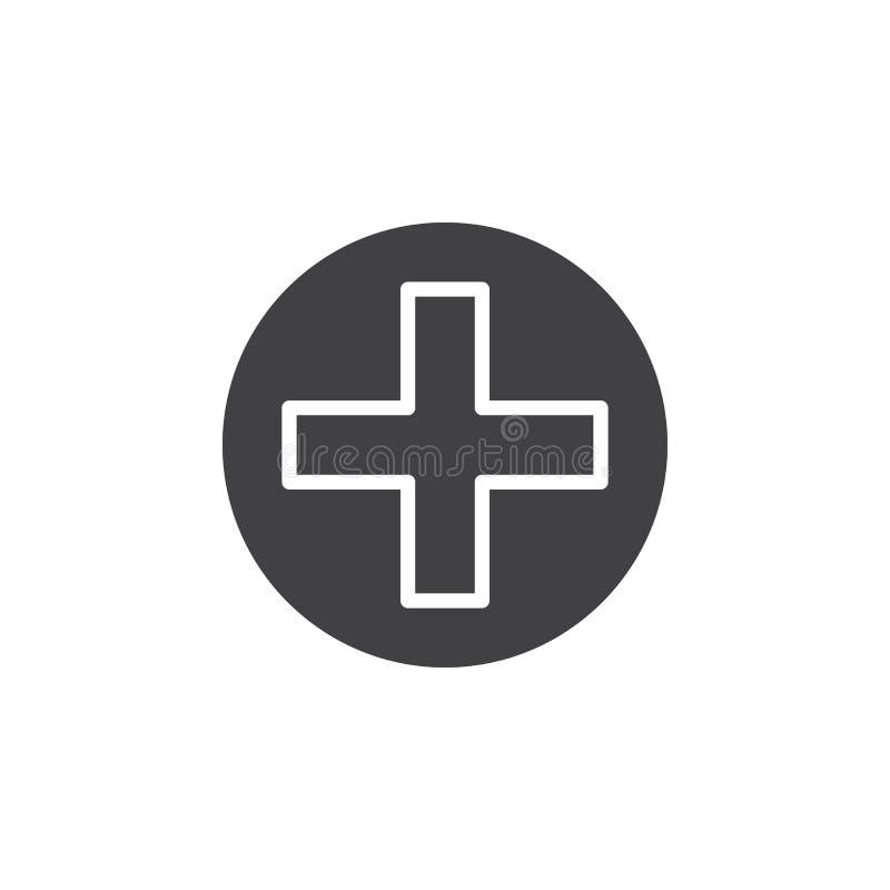 Croisez dans le vecteur d'icône de cercle, signe plat rempli, pictogramme solide d'isolement sur le blanc illustration de vecteur