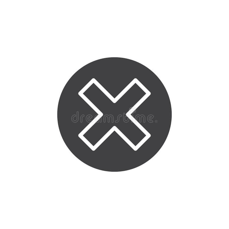 Croisez dans le vecteur d'icône de cercle, signe plat rempli, pictogramme solide d'isolement sur le blanc illustration stock