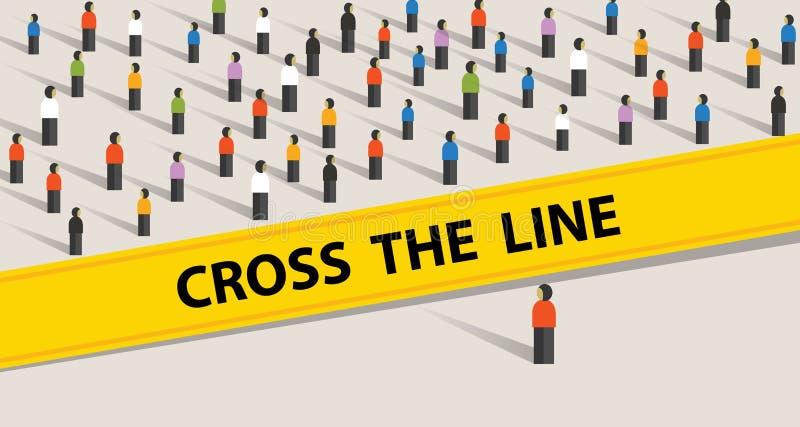 Croisez la ligne limite du groupe témoin social de société que la position de frontière de limite demandent à ne jamais s'arrêter illustration libre de droits