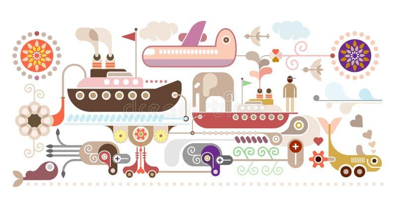 Croisière d'océan - voyage illustration de vecteur