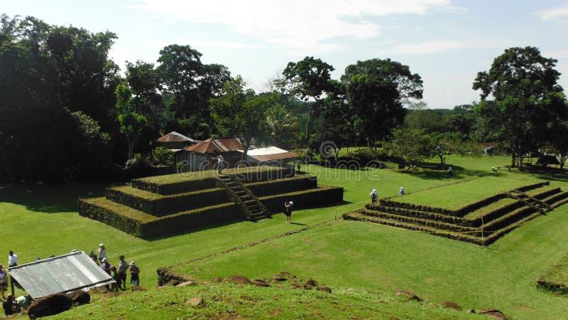 Croisière maya de canal de Panama de famille de Puerto Chiapas de ruines images libres de droits