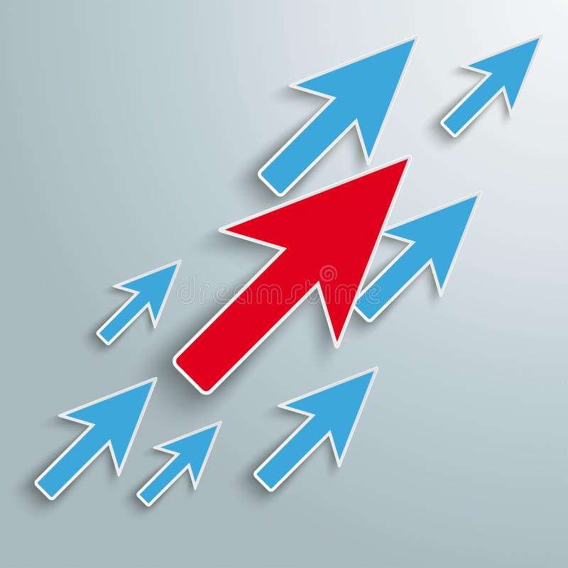 Croissance colorée de flèches de souris de clic illustration libre de droits