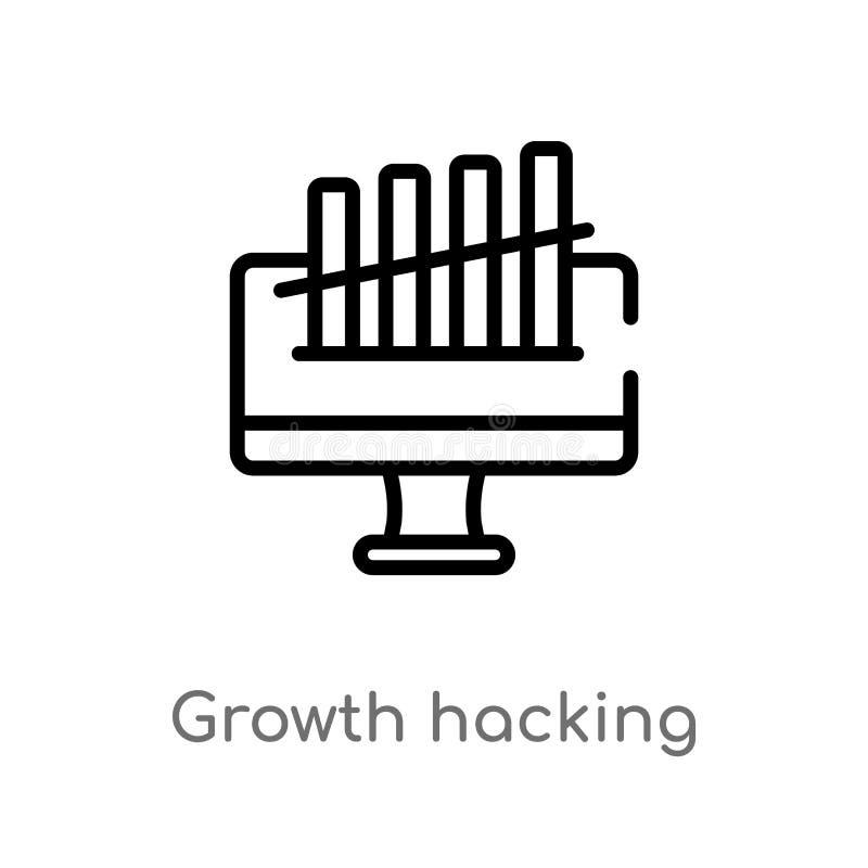 croissance d'ensemble entaillant l'icône de vecteur ligne simple noire d'isolement illustration d'?l?ment de concept de technolog illustration de vecteur