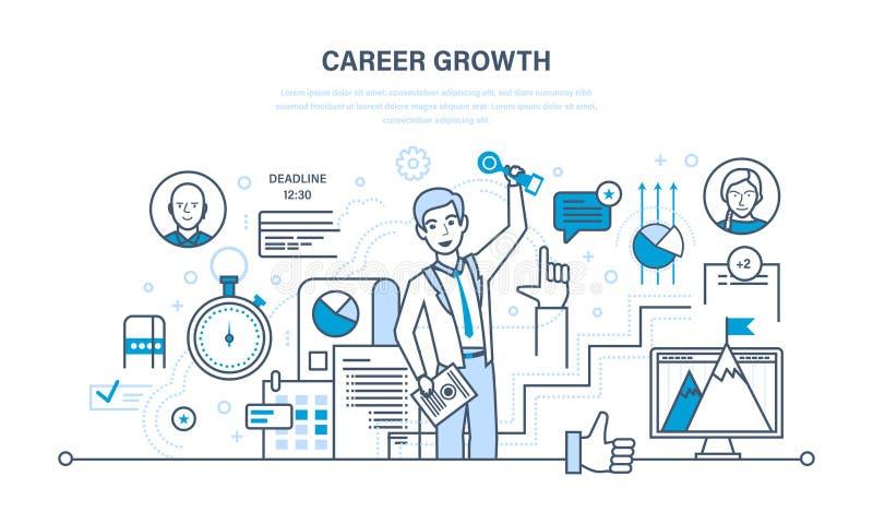 Croissance de carrière, progrès dans l'éducation, perfectionnement des connaissances personnelles, expérience de gain, qualités p illustration stock
