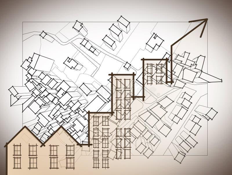 Croissance de la tendance du marché de l'immobilier - diagramme de petit morceau d'image de concept illustration de vecteur