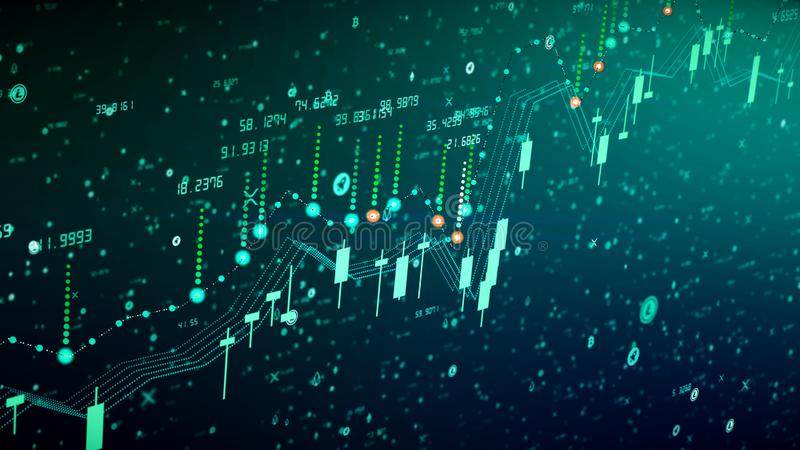 Croissance financière de diagramme sur le marché haussier, montrant le bénéfice de croissance et d'augmentation illustration stock