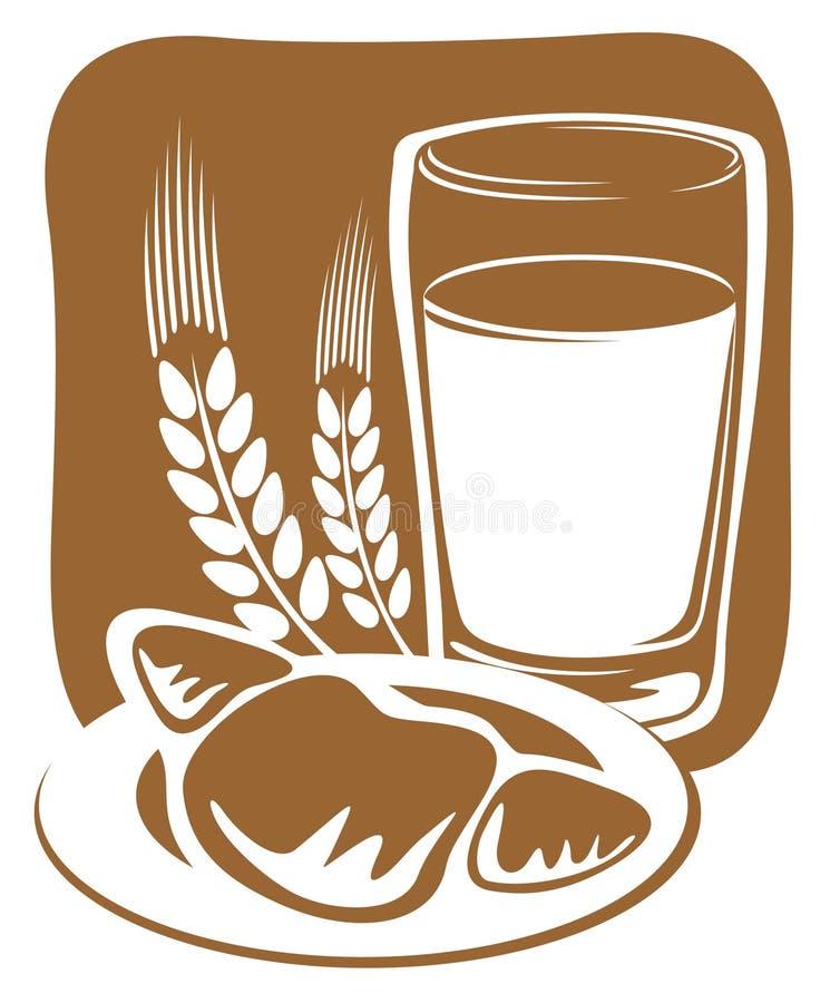 croissant γάλα διανυσματική απεικόνιση