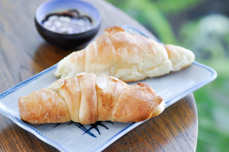 Croissant and almond croissant royalty free stock images