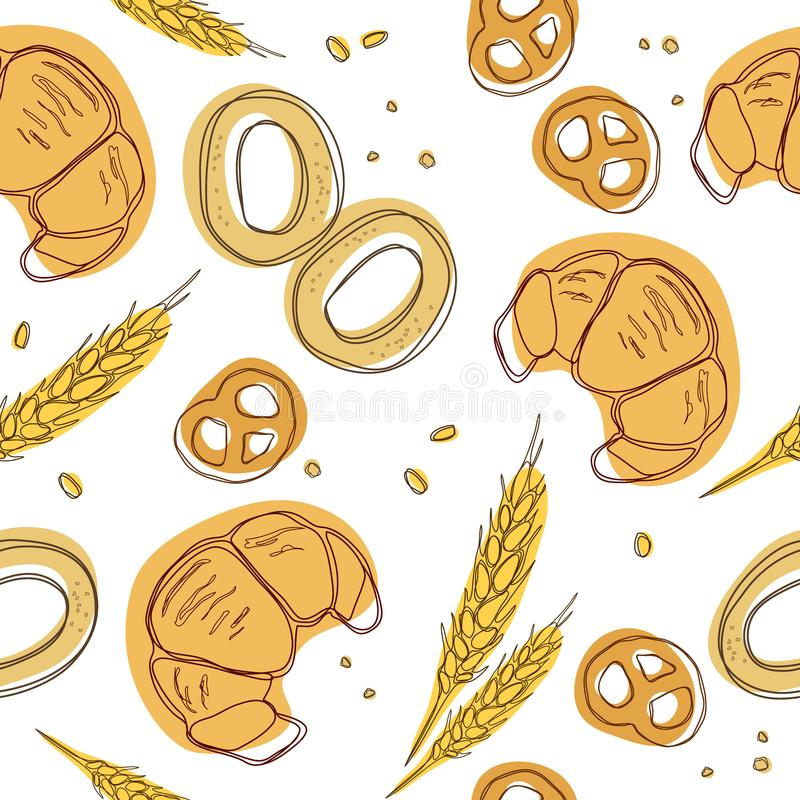 Croissant, bagels, ear, pretzels seamless pattern. Doodle vector. Vintage food icons,s weet elements background for menu, cafe sho stock illustration