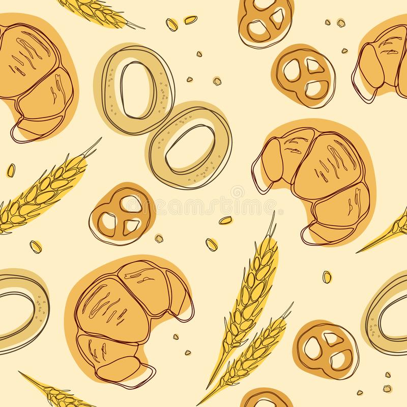 Croissant, bagels, ear, pretzels seamless pattern. Doodle vector. Vintage food icons,s weet elements background for menu, cafe sho vector illustration