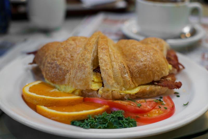 Croissant breakfast stock image. Image of gain, calories..