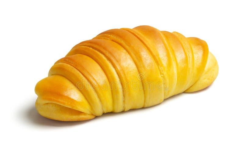 Croissant brioche, rollo de pan de levadura portugués de fondo blanco fotografía de archivo