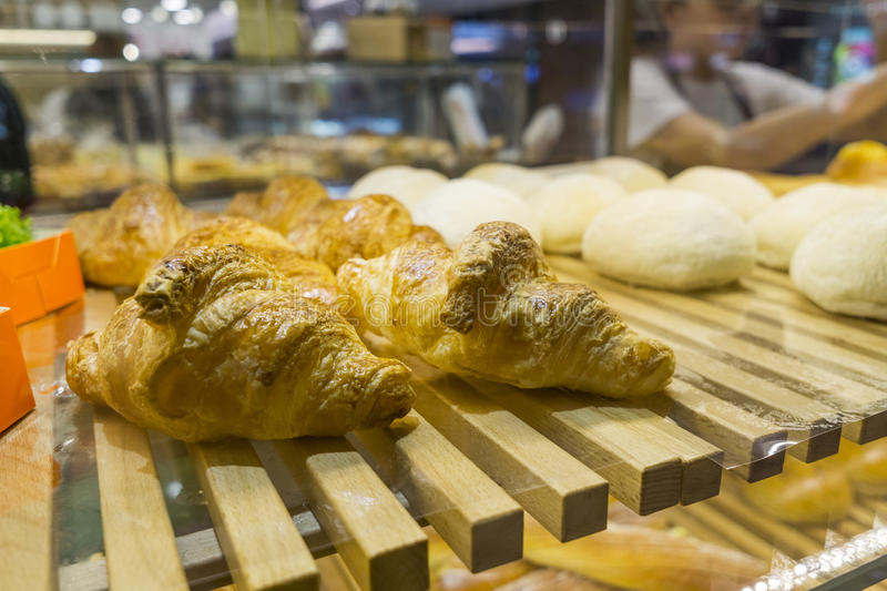 Croissant. And buns in a bakery shop royalty free stock photography
