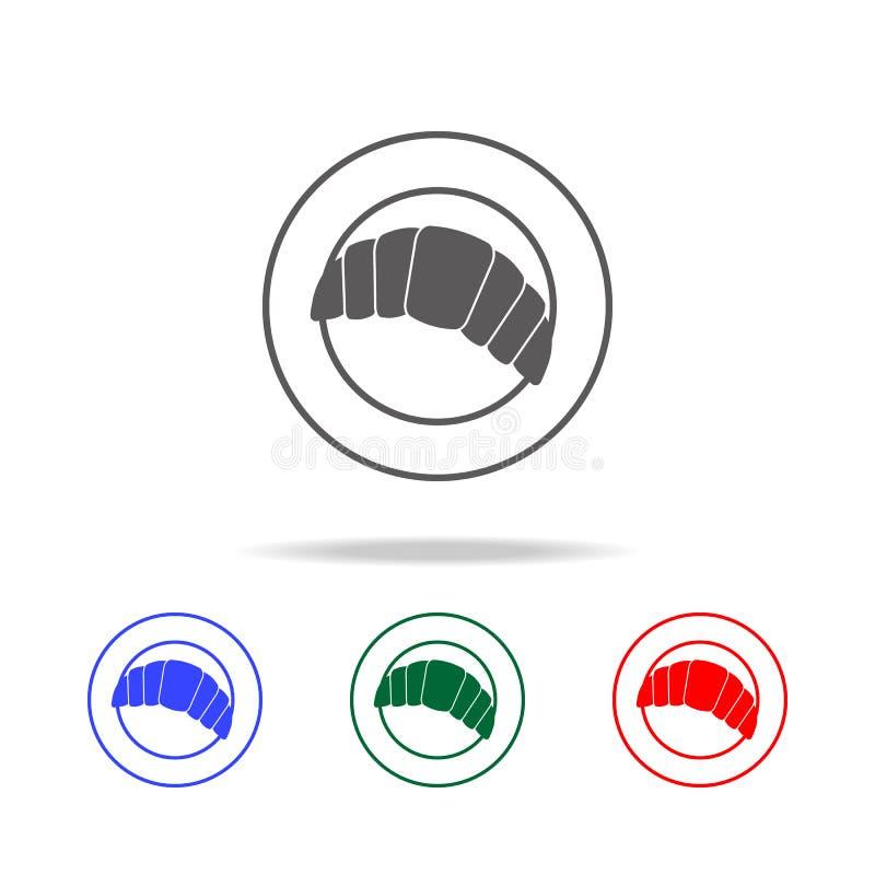 croissant che si trovano su un'icona nera semplice di cibo del piatto Elementi di multi icone colorate dell'alimento Icona premio royalty illustrazione gratis