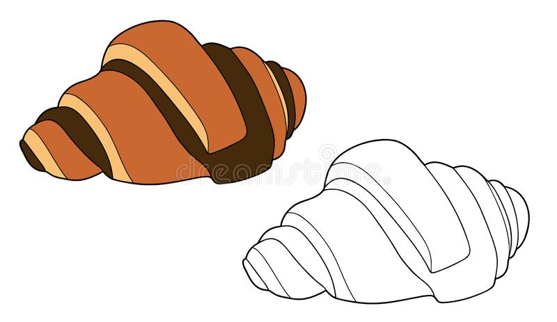 Croissant with chocolate. Color and black and white line art. Vector outline illustration vector illustration