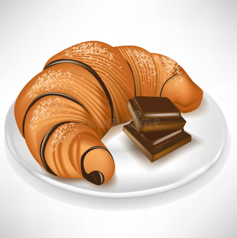 Croissant with chocolate pieces on plate royalty free illustration