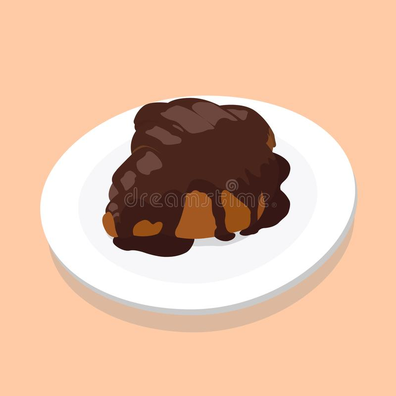 Croissant with chocolate on a white plate vector illustration