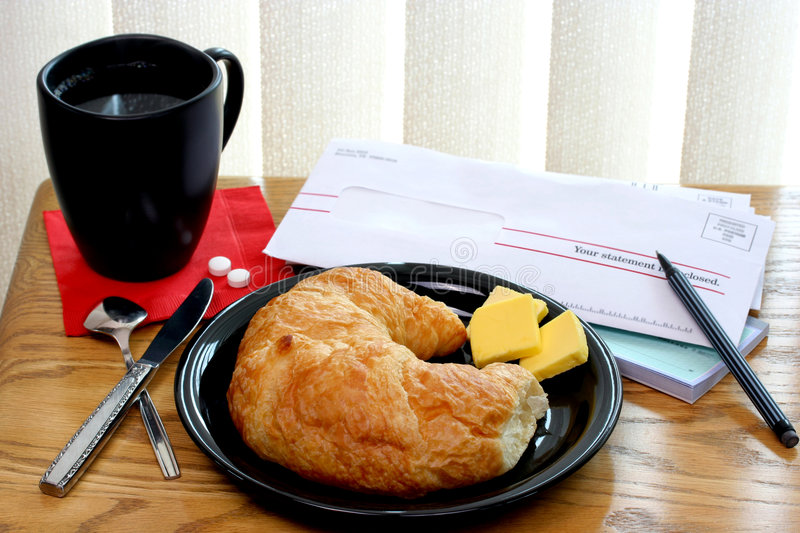 Download Croissant, Coffee And Bills Royalty Free Stock Photo - Image: 6159545