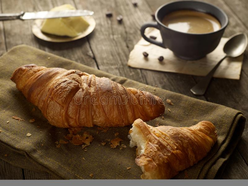 Croissant and coffee stock image