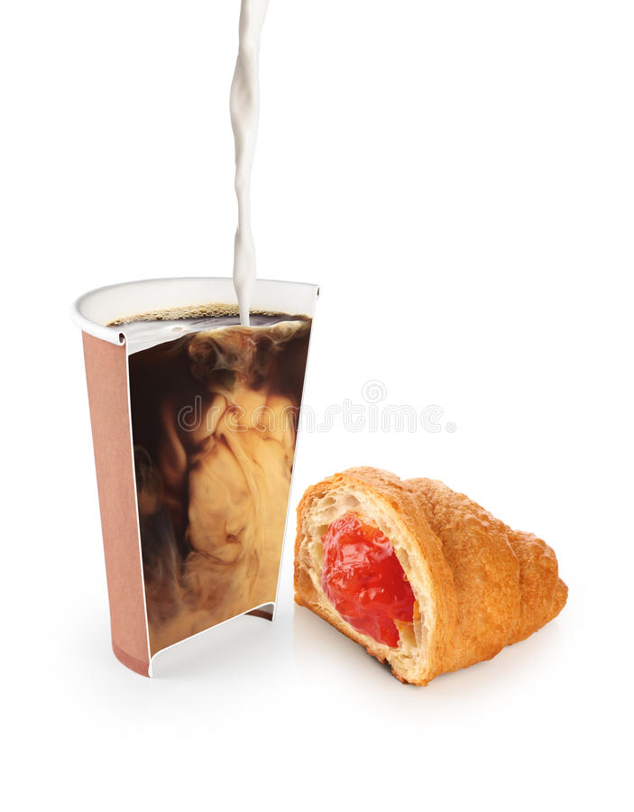 Croissant and coffee in paper cup with flowing milk isolated on stock photos