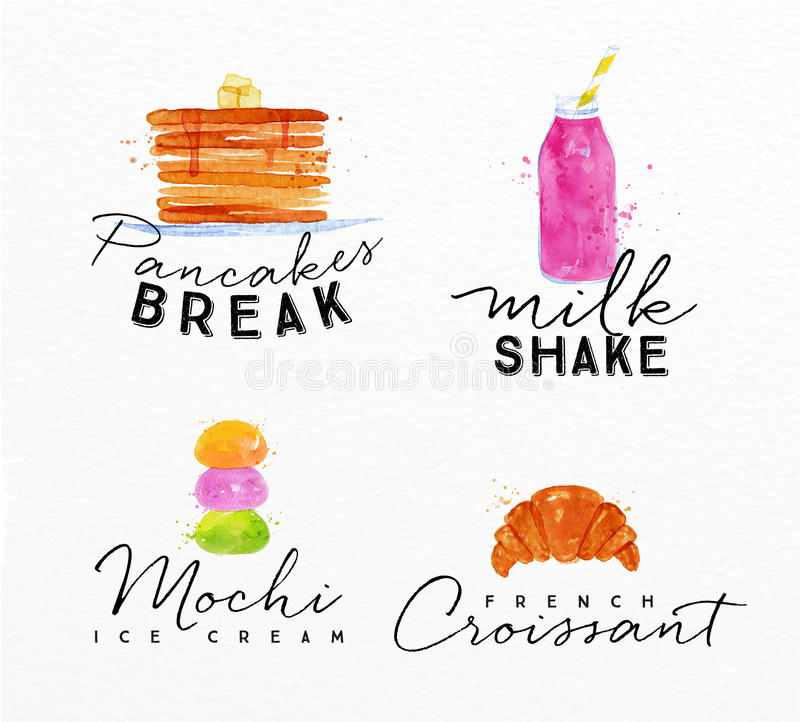 Croissant de label d'aquarelle illustration libre de droits