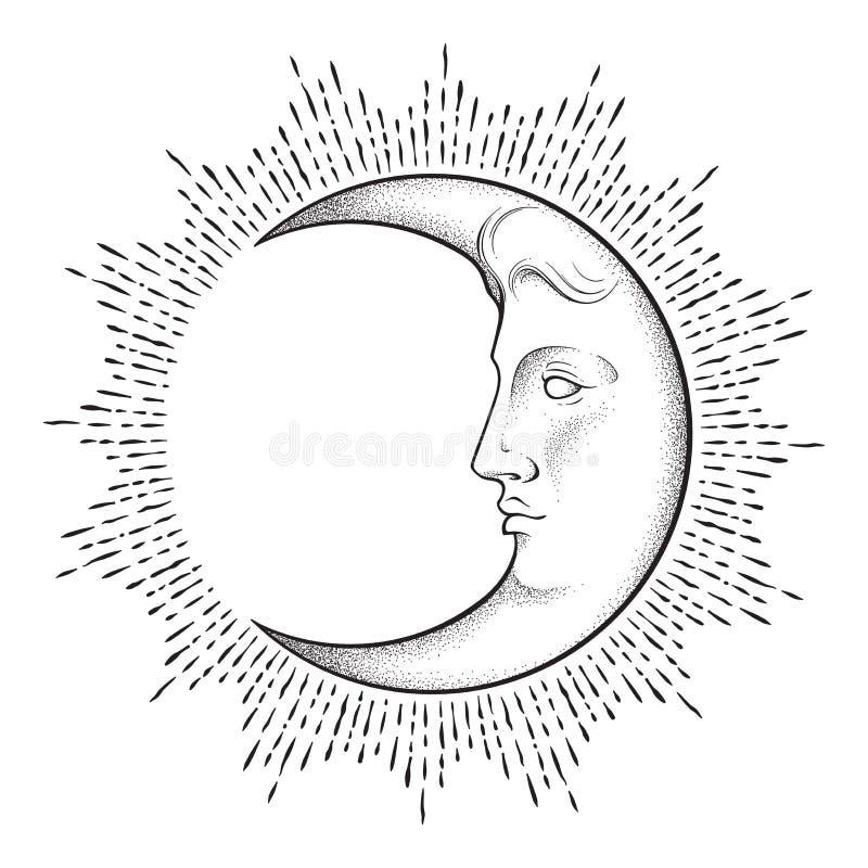 Croissant de lune avec le visage dans tiré par la main schéma et dotwork style antique Tatouage chic de Boho, affiche, voile d'au illustration libre de droits