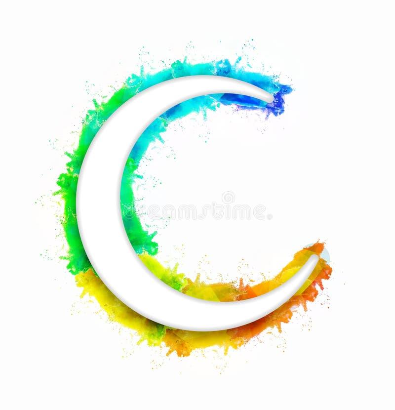 Croissant de lune brillant pour la célébration d'Eid Mubarak illustration libre de droits