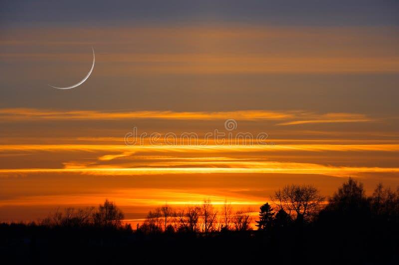Croissant de lune en ciel cr?pusculaire image stock