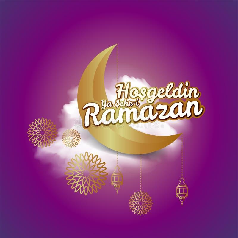 Croissant de lune et inscription de calligraphie qui signifie ?Hosgeldin Ya Sehri Ramazan ?sur le fond nuageux de nuit traduction illustration libre de droits
