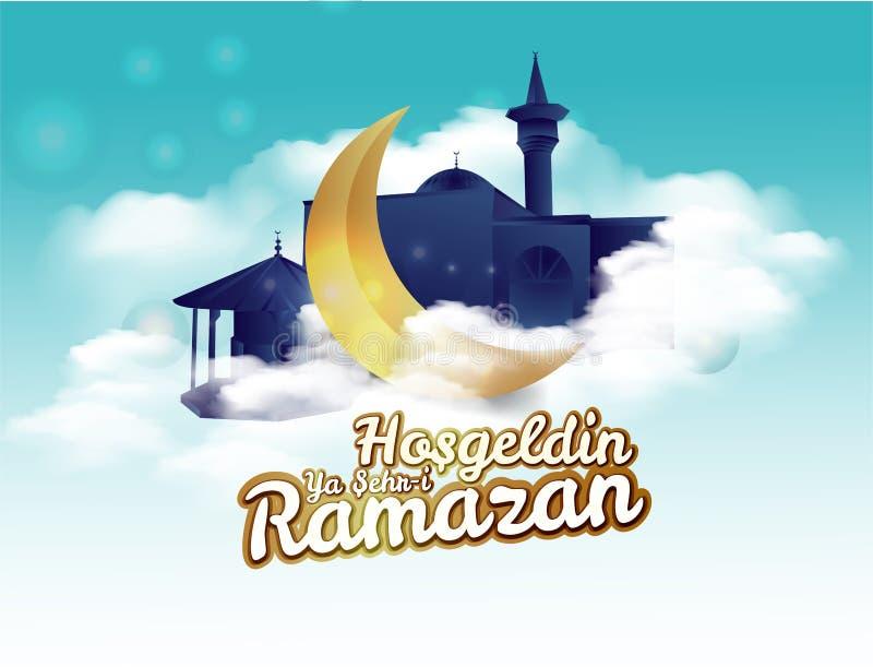 Croissant de lune et inscription de calligraphie qui signifie ?Hosgeldin Ya Sehri Ramazan ?sur le fond nuageux de nuit traduction illustration de vecteur