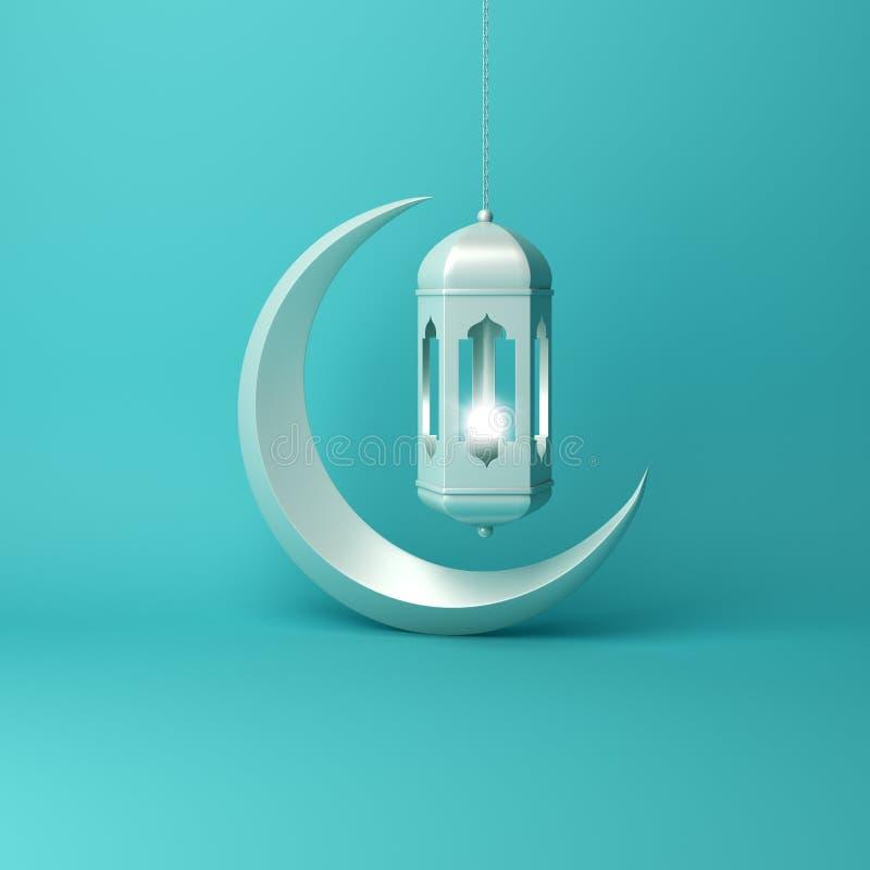 Croissant de lune et lampe accrochante arabe sur l'éclairage en pastel bleu de studio de fond illustration libre de droits