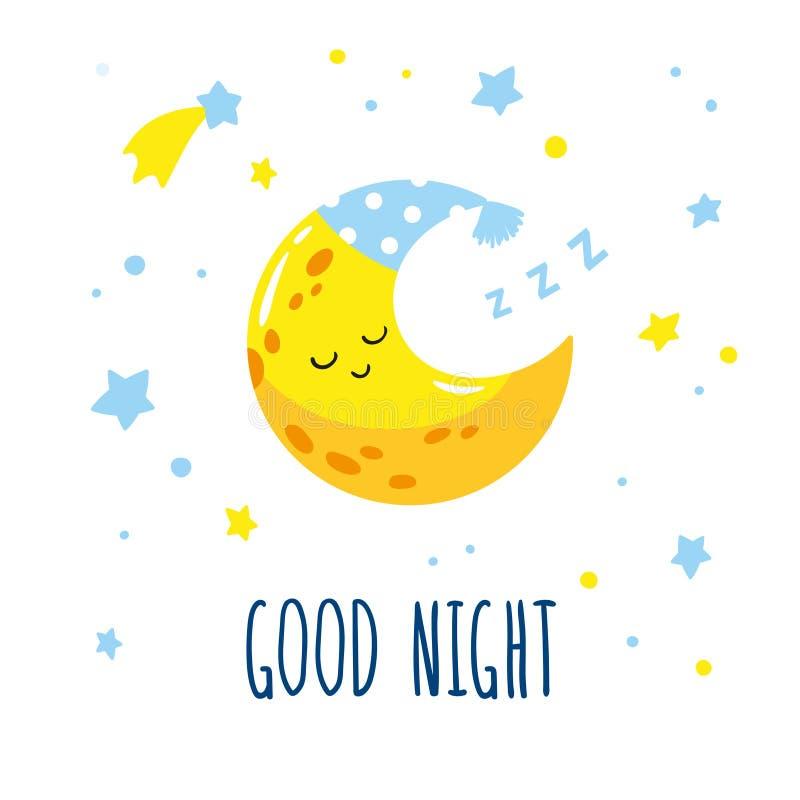 Croissant de lune mignon de sommeil dans le ciel Bonne nuit d'inscription manuscrite illustration de vecteur