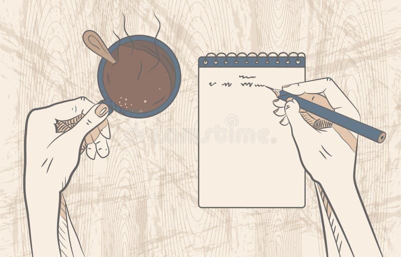 Croissant doux et une cuvette de café à l'arrière-plan Travail créateur Vecteur illustration de vecteur