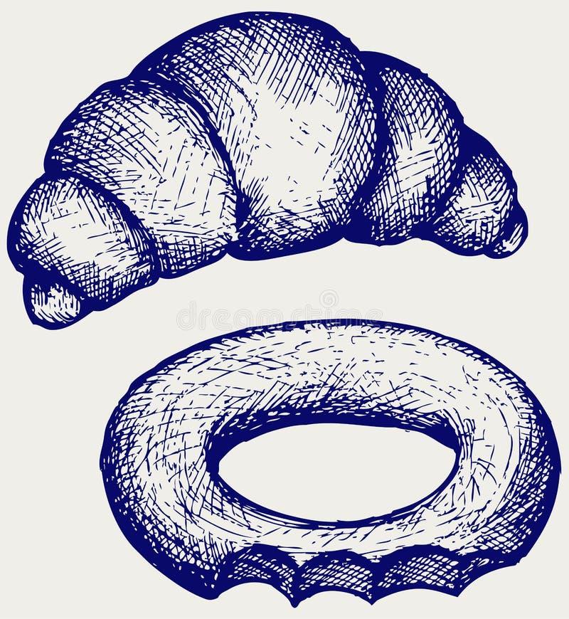 Croissant e bagel frescos ilustração stock