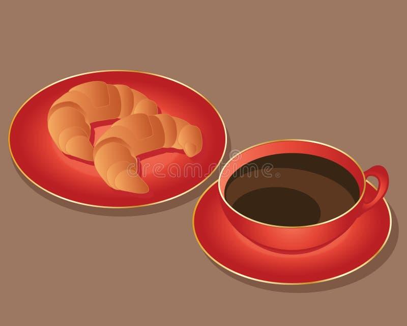 Croissant e caffè royalty illustrazione gratis
