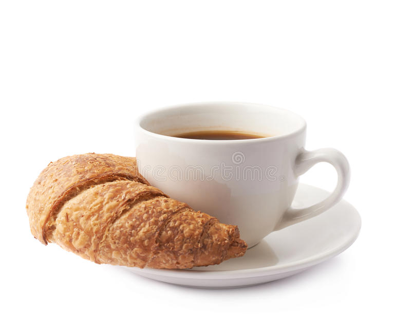 Croissant e chávena de café fotos de stock