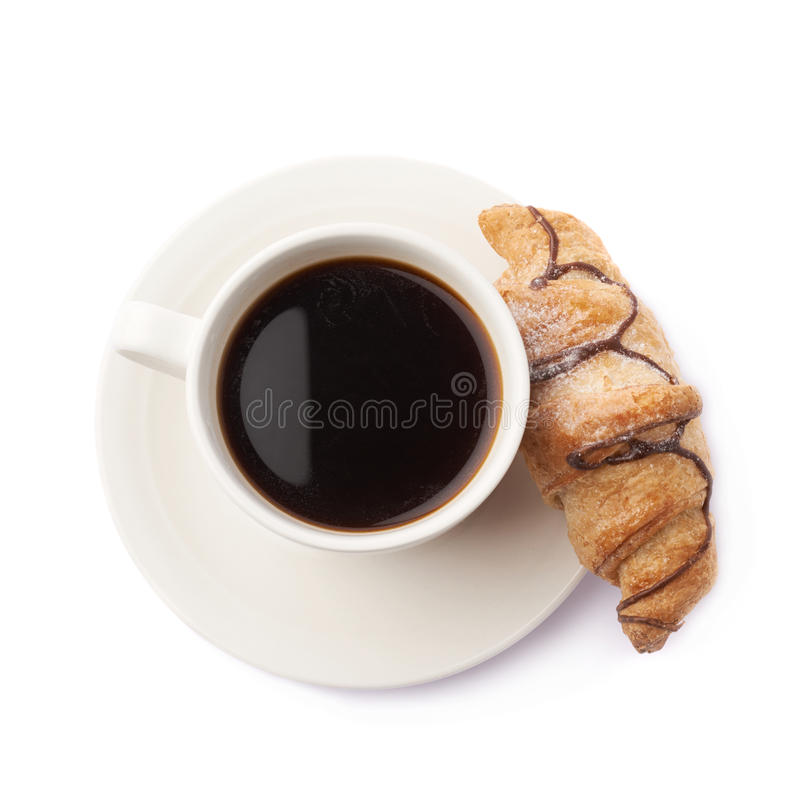 Croissant e chávena de café foto de stock royalty free