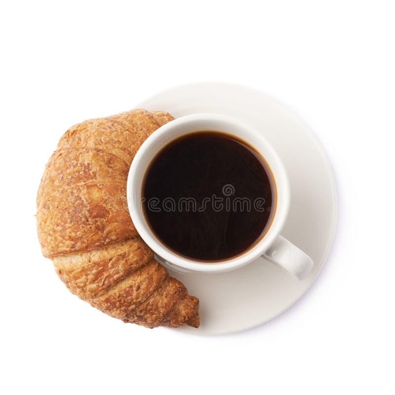 Croissant e chávena de café imagens de stock royalty free