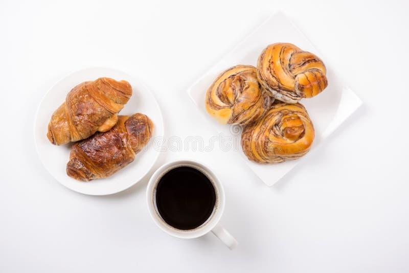 Croissant ed il Danese del caffè fotografia stock