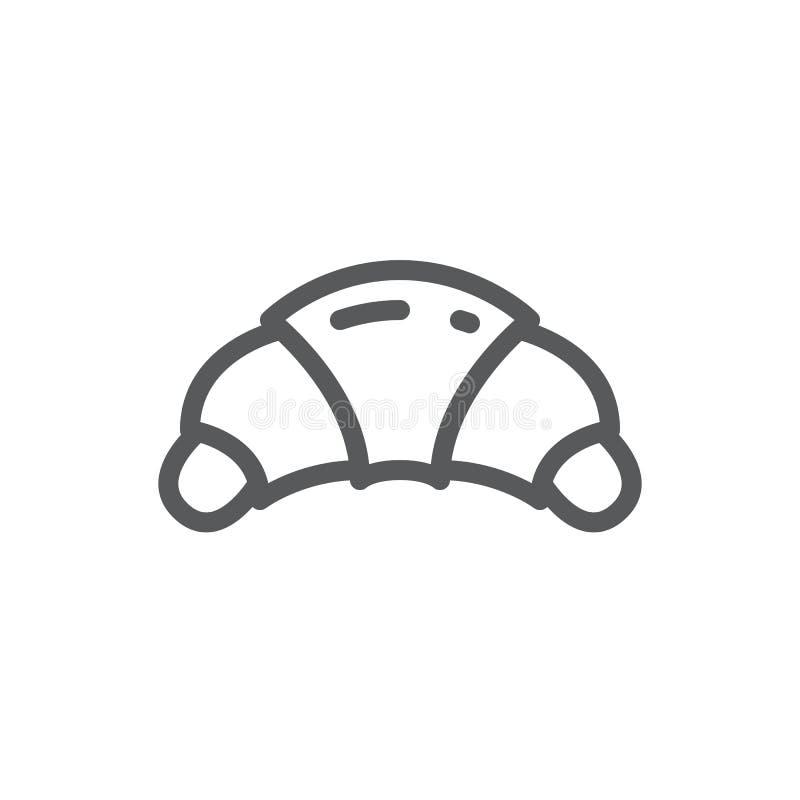 Croissant editable ikony wektorowa ilustracja - cienki kreskowy piktogram cukierki piec półksiężycowatego chleb z plombowaniem ilustracja wektor