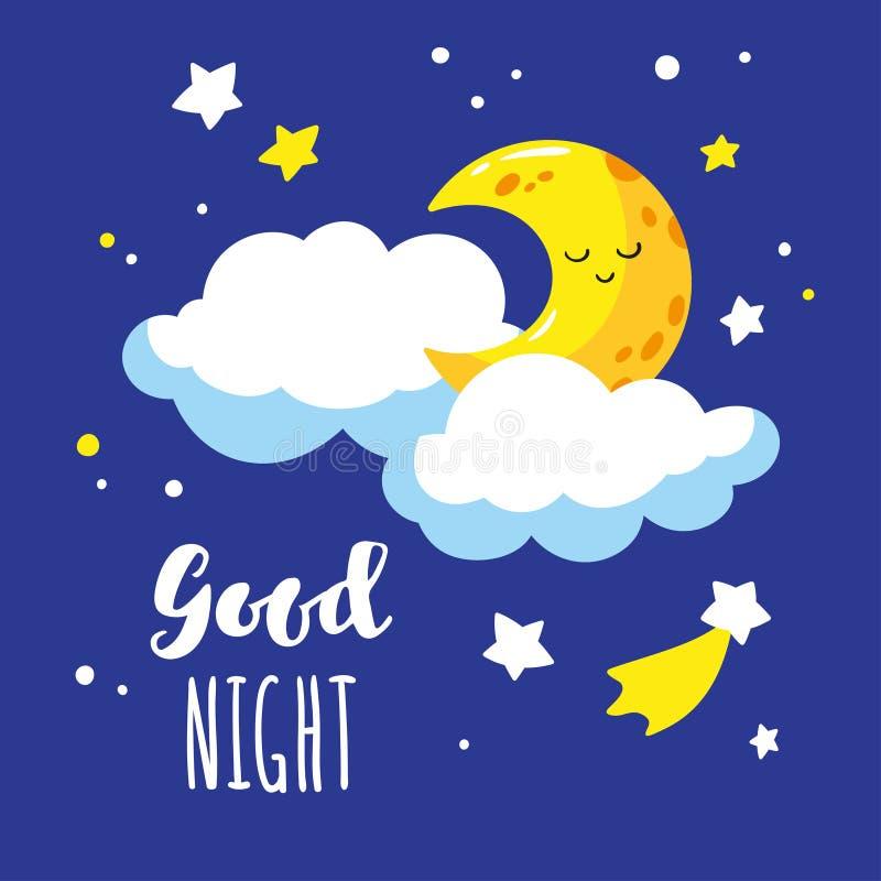 Croissant et nuages mignons de bande dessinée dans le ciel nocturne Nuit d'inscription d'écriture bonne illustration libre de droits