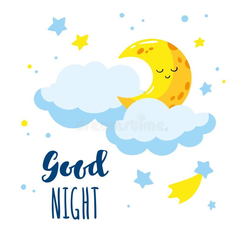 Croissant et nuages mignons de bande dessinée dans le ciel Nuit d'inscription d'écriture bonne illustration de vecteur