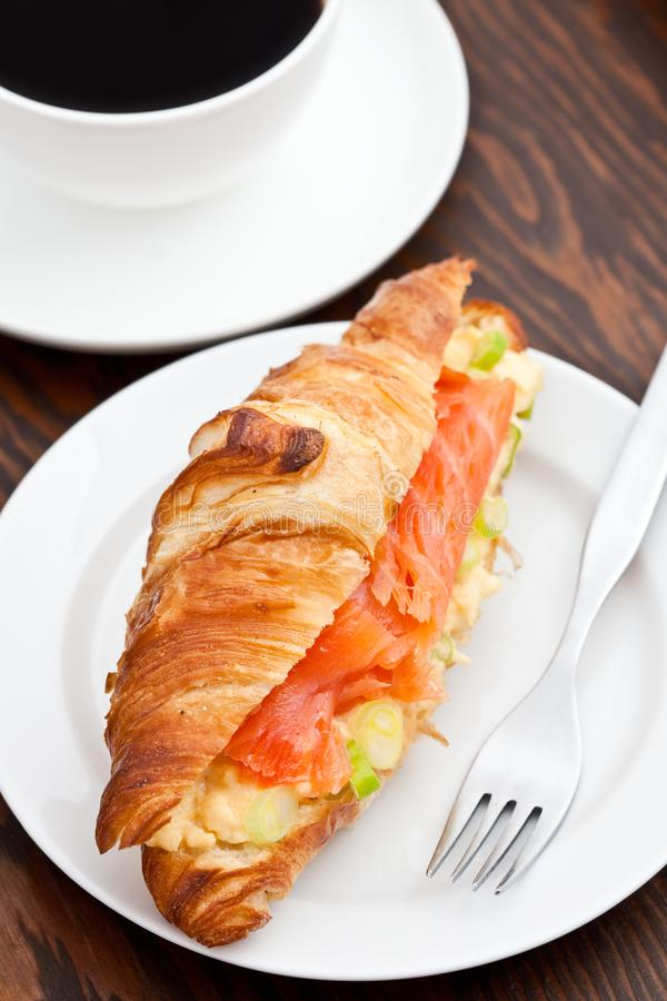Download Croissant Filled With Smoked Salmon And Coffee Stock Image - Image of fish, pink: 15980021