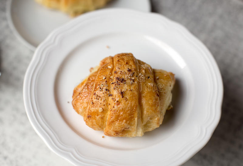 Croissant. In a French bakkery and coffe-shop stock images