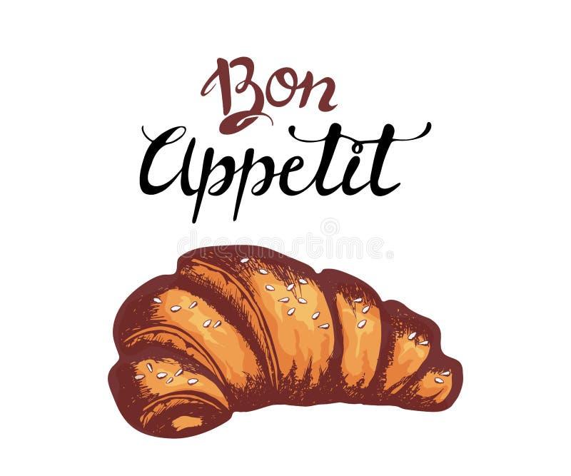 Croissant geïsoleerde handschets Zoete voedsel vectorillustratie Smakelijke dessertachtergrond Hand getrokken geïsoleerd croissan royalty-vrije illustratie
