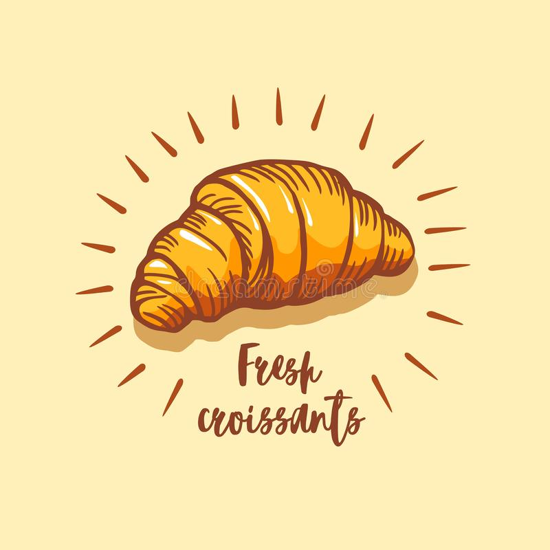Croissant icon. Bakery shop emblem, badge and logo. Vintage design. royalty free stock image