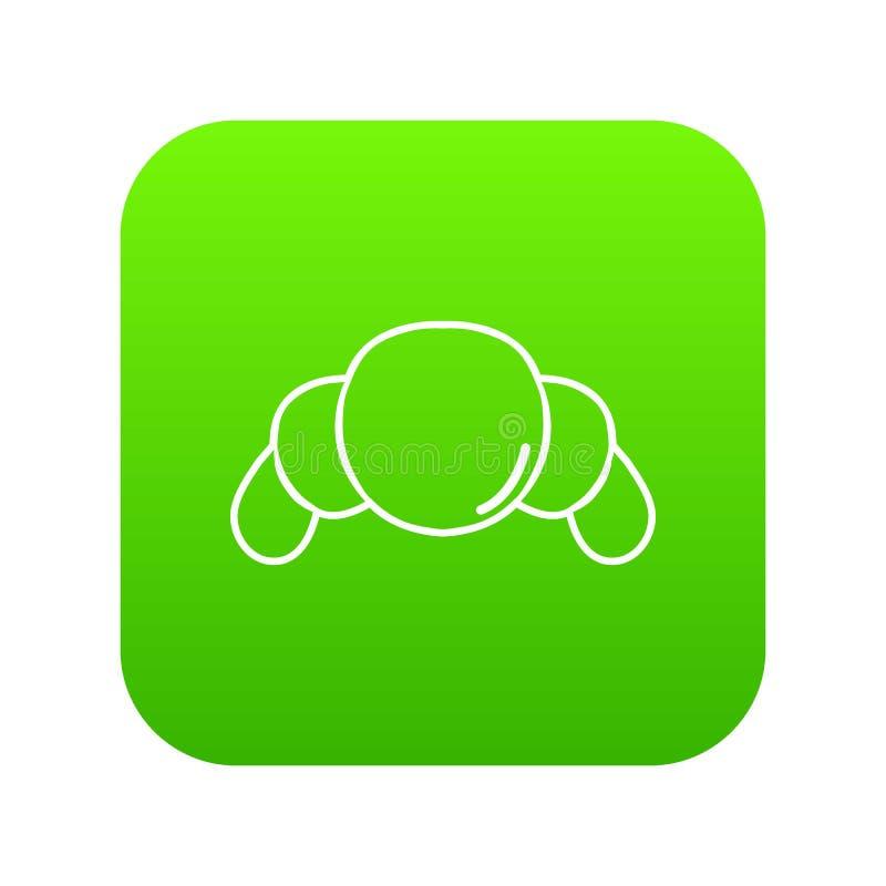 Croissant icon green vector stock illustration